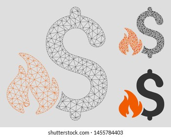 Mesh financial fire model with triangle mosaic icon. Wire carcass polygonal mesh of financial fire. Vector mosaic of triangle parts in variable sizes, and color hues.