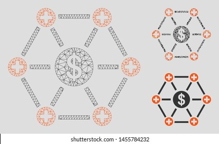 Mesh financial medical network model with triangle mosaic icon. Wire carcass triangular mesh of financial medical network. Vector mosaic of triangle parts in variable sizes, and color shades.