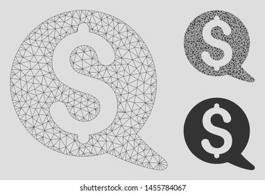 Mesh financial message balloon model with triangle mosaic icon. Wire carcass polygonal mesh of financial message balloon. Vector mosaic of triangle elements in variable sizes, and color shades.