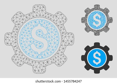 Mesh financial options gear model with triangle mosaic icon. Wire frame polygonal mesh of financial options gear. Vector mosaic of triangle parts in variable sizes, and color shades.