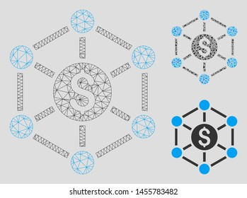Mesh financial radial scheme model with triangle mosaic icon. Wire carcass triangular mesh of financial radial scheme. Vector mosaic of triangle elements in various sizes, and color hues.