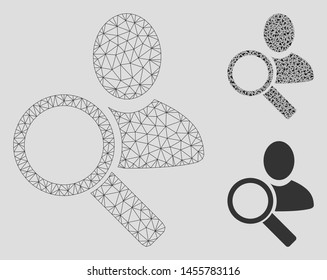 Mesh find user model with triangle mosaic icon. Wire carcass triangular mesh of find user. Vector mosaic of triangle parts in different sizes, and color tones. Abstract 2d mesh find user,