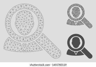 Mesh find user model with triangle mosaic icon. Wire carcass polygonal mesh of find user. Vector collage of triangle parts in different sizes, and color hues. Abstract flat mesh find user,