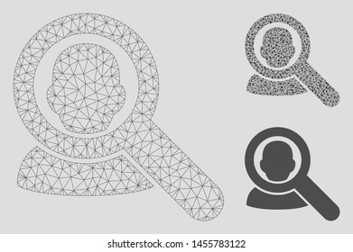 Mesh find user model with triangle mosaic icon. Wire frame triangular mesh of find user. Vector mosaic of triangle parts in variable sizes, and color tints. Abstract 2d mesh find user,