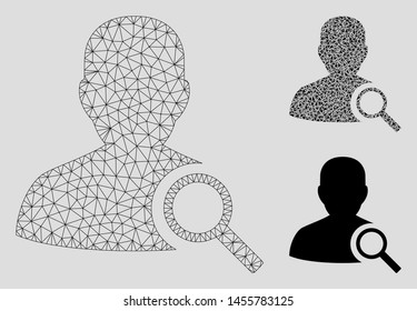 Mesh find user model with triangle mosaic icon. Wire carcass triangular mesh of find user. Vector mosaic of triangle elements in variable sizes, and color shades. Abstract 2d mesh find user,