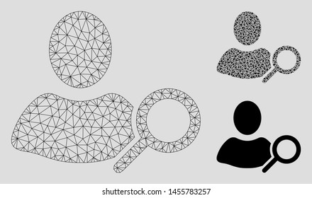 Mesh find user model with triangle mosaic icon. Wire carcass polygonal network of find user. Vector mosaic of triangle elements in variable sizes, and color tinges. Abstract flat mesh find user,