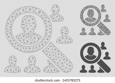 Mesh find users model with triangle mosaic icon. Wire frame polygonal mesh of find users. Vector collage of triangle parts in different sizes, and color tones. Abstract 2d mesh find users,