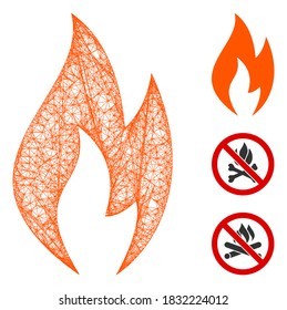 Mesh fire flame polygonal web 2d vector illustration. Carcass model is based on fire flame flat icon. Triangle mesh forms abstract fire flame flat carcass.
