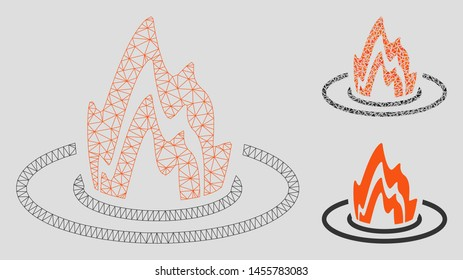 Mesh fire location model with triangle mosaic icon. Wire frame polygonal mesh of fire location. Vector composition of triangle elements in variable sizes, and color hues.