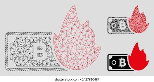 Mesh fired bitcoin banknote model with triangle mosaic icon. Wire frame triangular mesh of fired bitcoin banknote. Vector mosaic of triangle elements in variable sizes, and color tones.