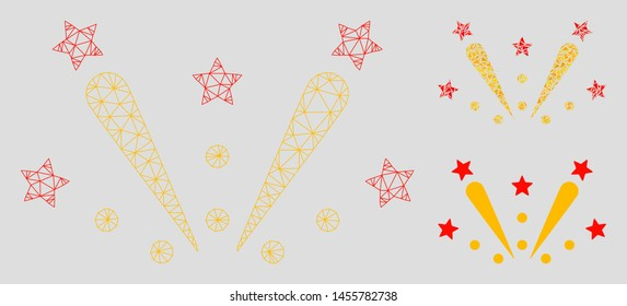 Mesh fireworks explosion model with triangle mosaic icon. Wire frame triangular network of fireworks explosion. Vector mosaic of triangle parts in variable sizes, and color shades.