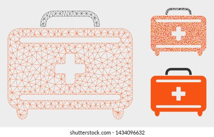 Mesh first aid toolkit model with triangle mosaic icon. Wire frame polygonal mesh of first aid toolkit. Vector mosaic of triangle parts in various sizes, and color shades.