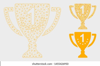Mesh first place goblet model with triangle mosaic icon. Wire carcass triangular mesh of first place goblet. Vector composition of triangle parts in different sizes, and color tinges.