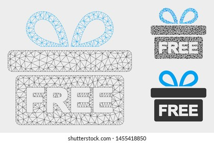 Mesh free gift model with triangle mosaic icon. Wire frame polygonal network of free gift. Vector mosaic of triangles in variable sizes, and color tints. Abstract flat mesh free gift,