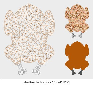 Mesh fried chicken model with triangle mosaic icon. Wire frame polygonal mesh of fried chicken. Vector mosaic of triangle parts in different sizes, and color tints. Abstract 2d mesh fried chicken,
