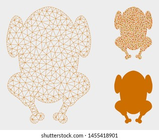 Mesh fried chicken model with triangle mosaic icon. Wire carcass triangular mesh of fried chicken. Vector composition of triangle elements in various sizes, and color tinges.