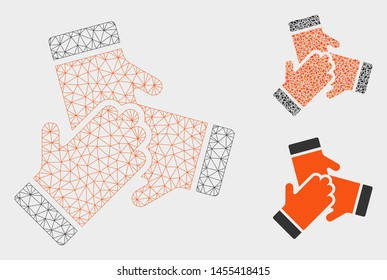 Mesh friendship model with triangle mosaic icon. Wire carcass triangular mesh of friendship. Vector collage of triangle parts in different sizes, and color tints. Abstract 2d mesh friendship,