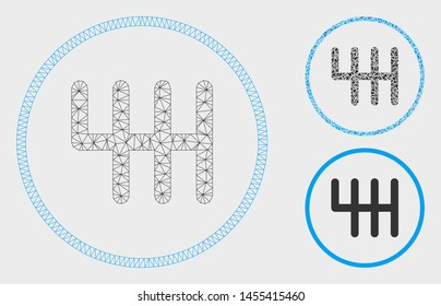 Mesh gear box model with triangle mosaic icon. Wire carcass triangular mesh of gear box. Vector mosaic of triangle elements in various sizes, and color hues. Abstract 2d mesh gear box,