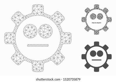 Mesh gear neutral smiley model with triangle mosaic icon. Wire carcass triangular mesh of gear neutral smiley. Vector mosaic of triangle elements in various sizes, and color shades.