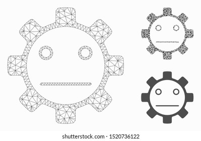 Mesh gear neutral smiley model with triangle mosaic icon. Wire carcass polygonal network of gear neutral smiley. Vector mosaic of triangle parts in variable sizes, and color tones.