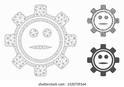 Mesh gear neutral smiley model with triangle mosaic icon. Wire carcass polygonal mesh of gear neutral smiley. Vector mosaic of triangle parts in variable sizes, and color tints.