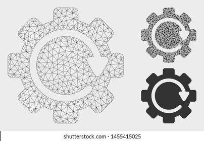 Mesh gear rotation direction model with triangle mosaic icon. Wire frame triangular mesh of gear rotation direction. Vector collage of triangle parts in various sizes, and color tones.