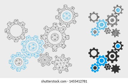 Mesh gears mechanism model with triangle mosaic icon. Wire carcass triangular mesh of gears mechanism. Vector mosaic of triangles in various sizes, and color tones. Abstract flat mesh gears mechanism,