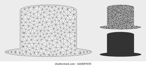 Mesh gentleman hat model with triangle mosaic icon. Wire frame triangular mesh of gentleman hat. Vector mosaic of triangle parts in different sizes, and color tints. Abstract 2d mesh gentleman hat,