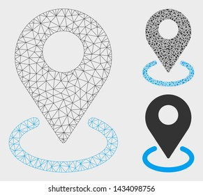 Mesh geo targeting model with triangle mosaic icon. Wire frame triangular mesh of geo targeting. Vector mosaic of triangle elements in various sizes, and color tints. Abstract flat mesh geo targeting,