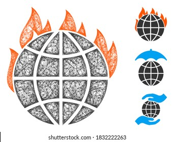 Mesh global warming fire polygonal web icon vector illustration. Carcass model is based on global warming fire flat icon. Triangular network forms abstract global warming fire flat carcass.