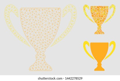 Mesh goblet cup model with triangle mosaic icon. Wire carcass polygonal mesh of goblet cup. Vector mosaic of triangle elements in variable sizes and color tints.