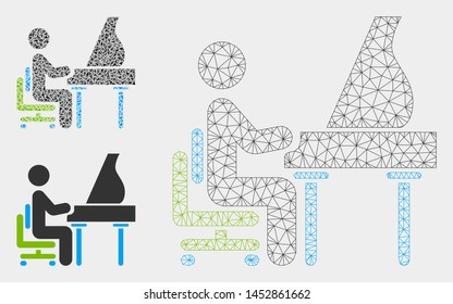 Mesh grand piano performer model with triangle mosaic icon. Wire frame triangular mesh of grand piano performer. Vector mosaic of triangle elements in various sizes, and color tones.