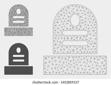 Mesh grave stone model with triangle mosaic icon. Wire frame polygonal mesh of grave stone. Vector mosaic of triangle elements in variable sizes, and color shades. Abstract 2d mesh grave stone,