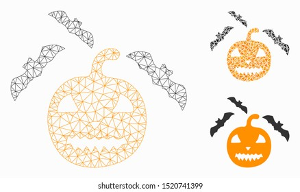 Mesh halloween bats model with triangle mosaic icon. Wire frame triangular mesh of halloween bats. Vector collage of triangle parts in various sizes, and color tones. Abstract 2d mesh halloween bats,