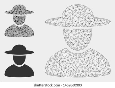Mesh hat man model with triangle mosaic icon. Wire carcass triangular mesh of hat man. Vector mosaic of triangle parts in various sizes, and color hues. Abstract flat mesh hat man,
