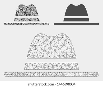 Mesh hat model with triangle mosaic icon. Wire carcass polygonal mesh of hat. Vector mosaic of triangle parts in variable sizes, and color hues. Abstract 2d mesh hat, designed with polygonal grid.