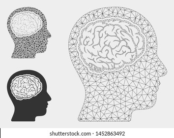 Mesh head brain model with triangle mosaic icon. Wire carcass polygonal mesh of head brain. Vector mosaic of triangle elements in variable sizes, and color tinges. Abstract 2d mesh head brain,