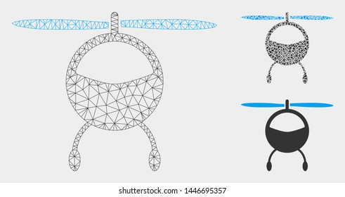 Mesh helicopter model with triangle mosaic icon. Wire carcass polygonal mesh of helicopter. Vector mosaic of triangles in variable sizes, and color tinges. Abstract flat mesh helicopter,