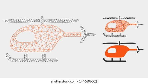 Mesh helicopter model with triangle mosaic icon. Wire frame polygonal mesh of helicopter. Vector collage of triangle parts in variable sizes, and color tones. Abstract flat mesh helicopter,