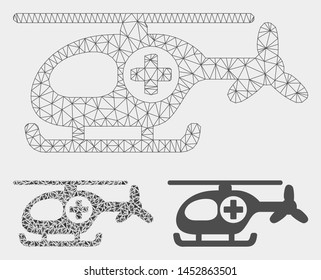 Mesh helicopter model with triangle mosaic icon. Wire carcass triangular mesh of helicopter. Vector mosaic of triangle parts in variable sizes, and color tinges. Abstract flat mesh helicopter,