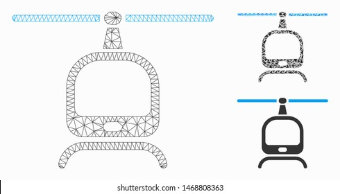 Mesh helicopter model with triangle mosaic icon. Wire frame triangular mesh of helicopter. Vector mosaic of triangles in variable sizes, and color tinges. Abstract 2d mesh helicopter,