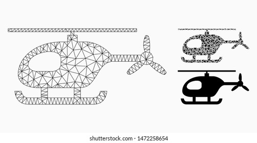 Mesh helicopter model with triangle mosaic icon. Wire frame polygonal mesh of helicopter. Vector mosaic of triangle parts in variable sizes, and color tinges. Abstract 2d mesh helicopter,