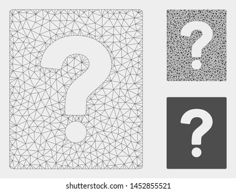Mesh help model with triangle mosaic icon. Wire carcass triangular mesh of help. Vector mosaic of triangle elements in variable sizes, and color shades. Abstract flat mesh help,