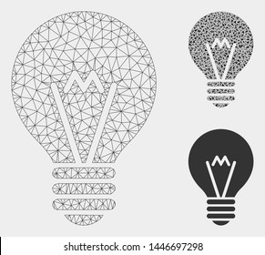 Mesh hint bulb model with triangle mosaic icon. Wire carcass polygonal mesh of hint bulb. Vector composition of triangle parts in variable sizes, and color hues. Abstract 2d mesh hint bulb,