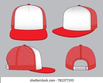 Mesh Hip Hop Cap Design White/Red Colors, Snap Back Strap Vector.