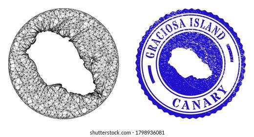 Mesh hole round Graciosa Island map and scratched seal stamp. Graciosa Island map is a hole in a circle seal. Web carcass vector Graciosa Island map in a circle. Blue round scratched watermark.