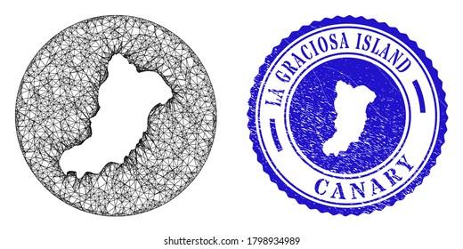 Mesh hole round La Graciosa Island map and grunge seal stamp. La Graciosa Island map is stencil in a circle stamp. Web mesh vector La Graciosa Island map in a circle. Blue round textured stamp.