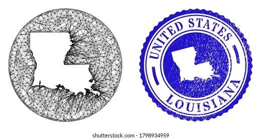 Mesh hole round Louisiana State map and scratched seal stamp. Louisiana State map is carved in a round stamp. Web mesh vector Louisiana State map in a circle. Blue round scratched seal.