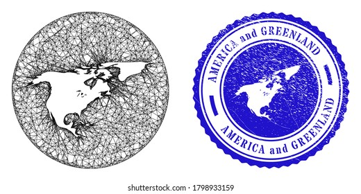 Mesh hole round North America and Greenland map and scratched seal. North America and Greenland map is carved in a round seal. Web mesh vector North America and Greenland map in a circle.