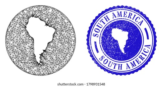 Mesh hole round South America map and scratched seal stamp. South America map is a hole in a circle seal. Web network vector South America map in a circle. Blue round grunge stamp.
